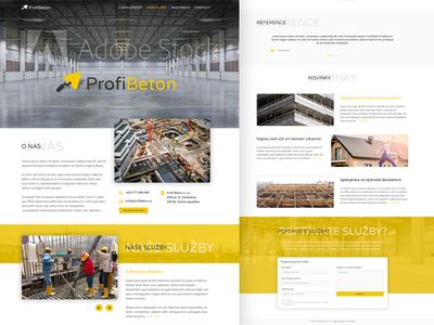 Profi Beton s.r.o. - redesign company construction modern clean white yellow redesign profi beton