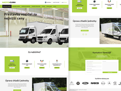 MotoClima redesign truck page landing car modern white black green