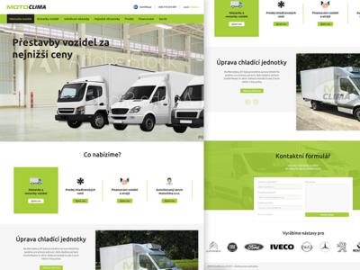 MotoClima redesign truck page landing car modern white black green