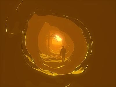 Seaside sunset design graphics illustration 3d