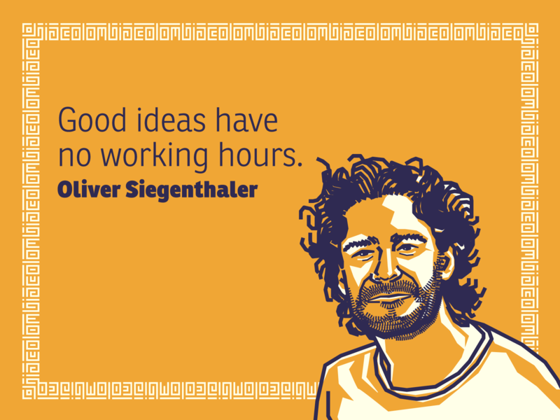Oliver Siegenthaler portrait illustration colombia designer quote