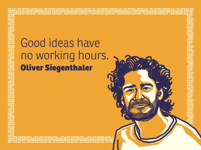 Oliver Siegenthaler portrait illustration colombia designer quote