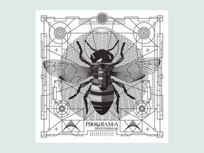 Space Bee postcard insect noblanco lines black illustration