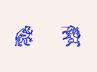Mythos 3 heraldry vector lines blue illustration
