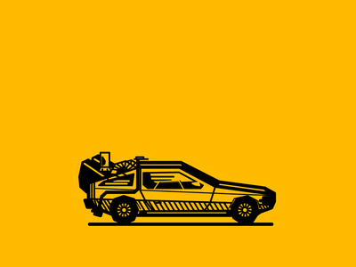 childhood 015 childhood noblanco vector lines black yellow illustration delorean car 80s