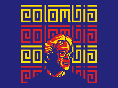 Colombian Graphic Designer's Day yellow blue red portrait colombia illustration