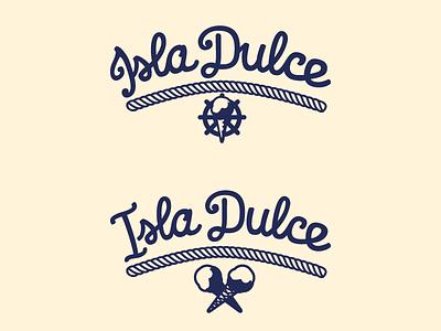 Isla Dulce island candy isla dulce icon blue logo lettering