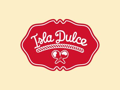 Isla Dulce - Label white brand red isladulce logo label