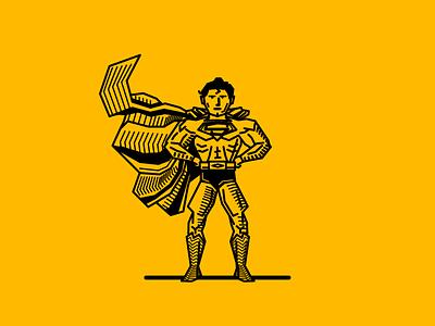 childhood 020 hero superman illustration yellow black lines vector noblanco childhood
