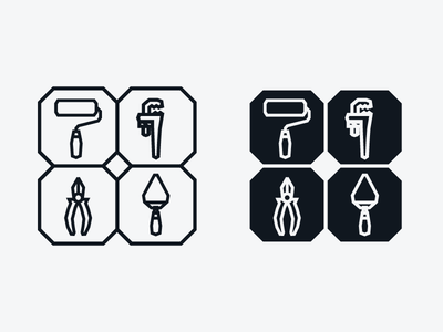 Icons Tools tools lines white black vector icons