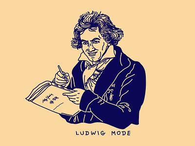 Ludwig Mode beethoven ludwig logo blue noblanco lines illustration