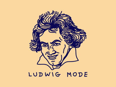 Ludwig Mode beethoven ludwig logo blue noblanco lines illustration