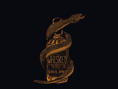 Boreal Tee black whiskey snake illustration drawing