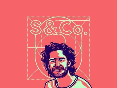 Oliver Siegenthaler portrait illustration vector pink blue colombian designer