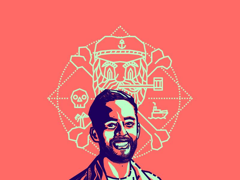 Alejandro Giraldo friend designer colombian blue pink vector illustration portrait