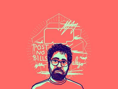 Alejandro Posada portrait illustration vector pink blue colombian designer friend