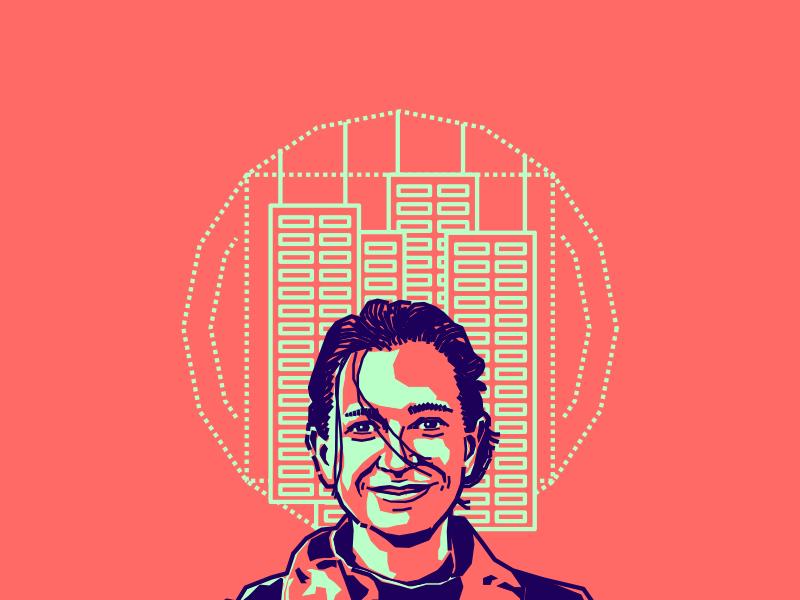 Ana Maria Velasquez portrait illustration vector pink blue colombian designer friend