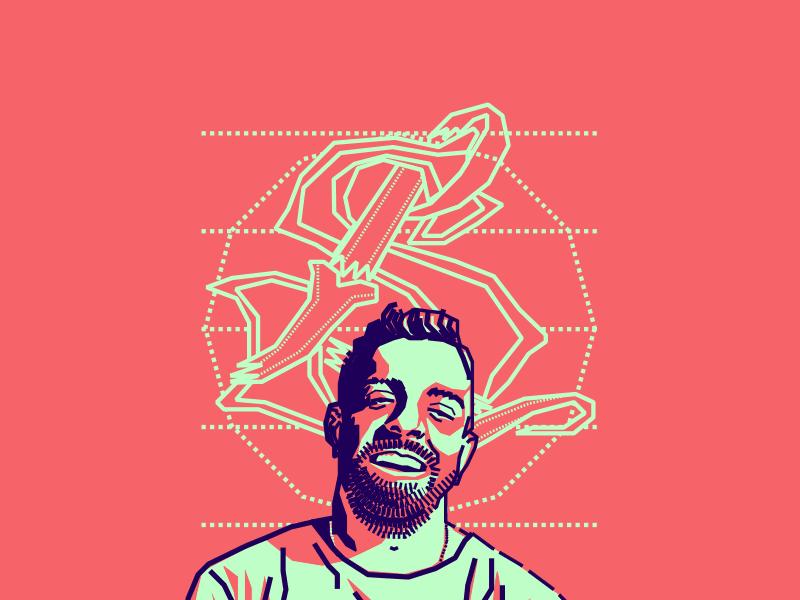 Simón Londoño portrait illustration vector pink blue colombian designer friend