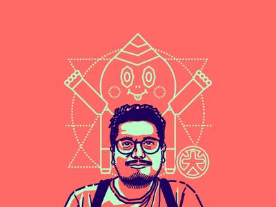 Carlos Higuera friend designer colombian blue pink vector illustration portrait