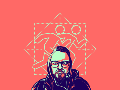 Rafael Puyana friend designer colombian blue pink vector illustration portrait