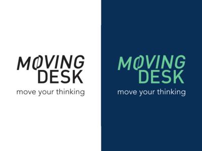 Moving Desk logo education desk mint blue letters type logo