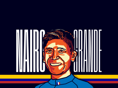 Nairo Quintana - Cyclist tour black orange vector illustration colombia cyclist