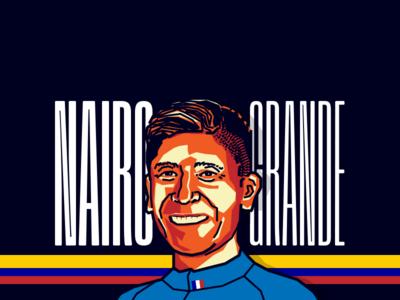 Nairo Quintana - Cyclist tour black orange vector illustration colombia cyclist