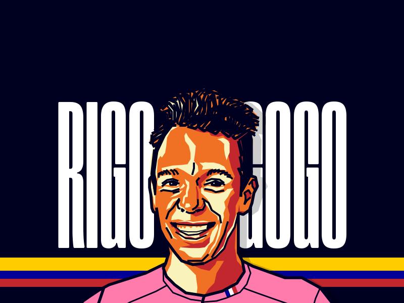 Rigoberto Urán - Cyclist tour black orange vector illustration colombia cyclist