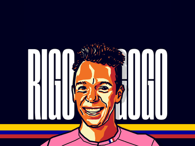 Rigoberto Urán - Cyclist tour black orange vector illustration colombia cyclist