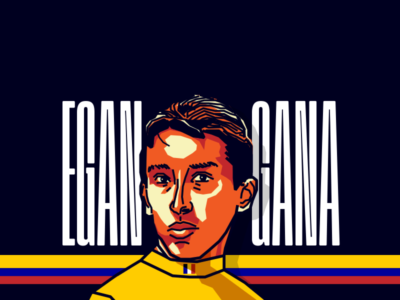 Egan Bernal - Cyclist tour black orange vector illustration colombia cyclist