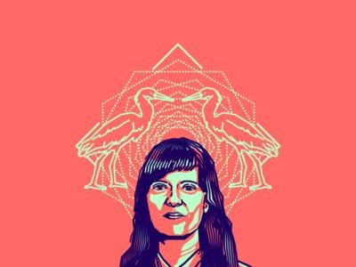 Johana Bojanini friends of type designer colombian blue pink vector illustration portrait