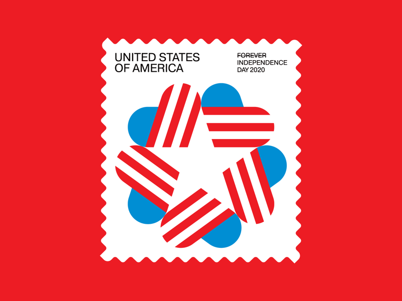 Independence Day Stamp (1 of 3) red white and blue american flag star heart independence day 4th of july americana usa stamp icon symbol trademark logo