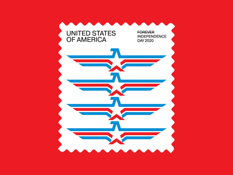 Independence Day Stamp (2 of 3) illustration red white and blue american flag eagle star independence day 4th of july americana usa stamp icon symbol trademark logo