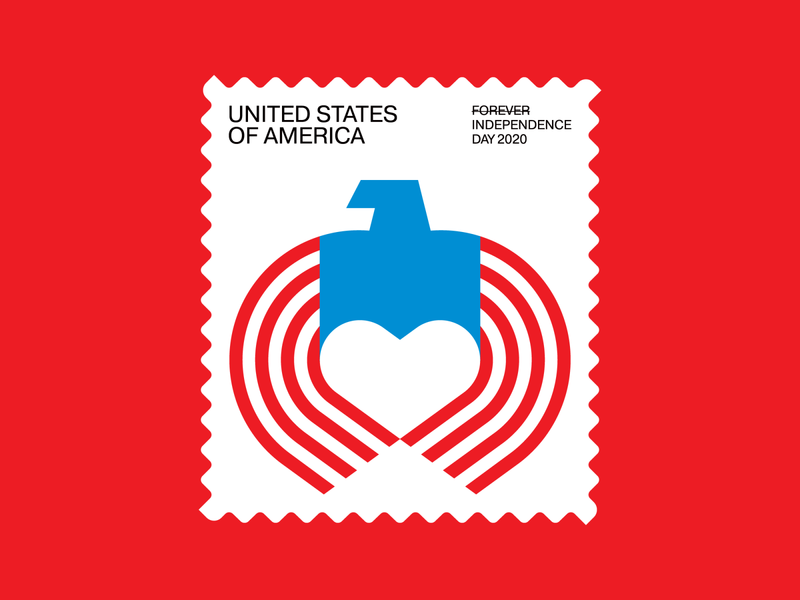 Independence Day Stamp (3 of 3) red white and blue american fllag eagle heart independence day 4th of july americana usa stamp icon symbol trademark logo