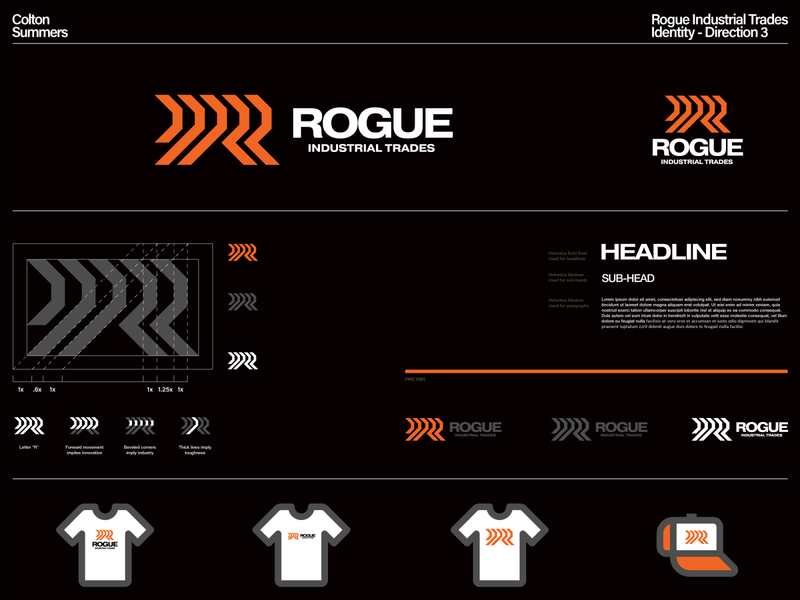 Rogue Industrial Trades Identity - Direction 3 arrow logo r logo lettermark branding identity design brand identity symbol logo design trademark logo