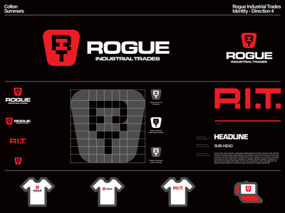 Rogue Industrial Trades Identity - Direction 4 type design logotype thicklines badge lettermark branding identity design brand identity symbol logo design trademark logo