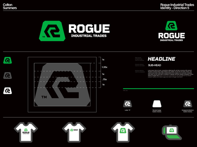 Rogue Industrial Trades Identity - Direction 5 thicklines badge r logo lettermark branding identity design brand identity symbol logo design trademark logo