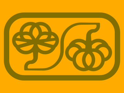 A Pumpkin and His Leaf pictogram autumn fall badge leaf pumpkin vector illustration icon symbol trademark logo design logo