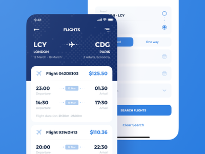 Flight Search and Booking ui clean simple blue application mobile user interface design app ticket plane travel flying booking flight