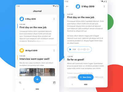 Journal diary journal app android google material design ux ui design application mobile