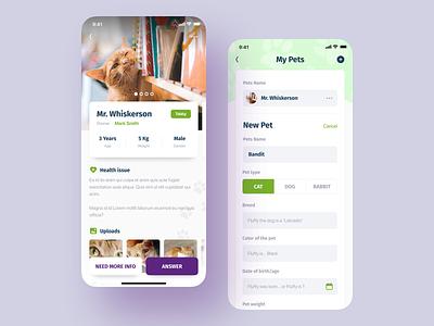 Pocket Vet form user interface animal pet vet ios ux ui design mobile app application