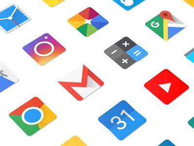 Square Material Design Icons ui design mobile clean square icon app icon android google material design app icons icon set icons