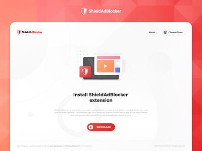 AdBlocker Chrome extension download ui design illustration material design download extension chrome landing page web page web design web