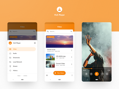 VLC Player Redesign simple clean google list view menu slide media orange vlc player video application app mobile ux ui design android material design