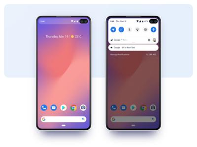 Pixel 4 Notifications ux clean mobile ui design material design google drop down controls notifications concept phone pixel android