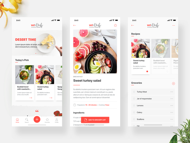 Recipe App (WEChef) ios clean simple ingredients food recipe mobile user experience user interface ux ui design application app