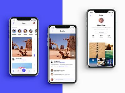 Social App media profile ios blue clean simple iphone feed social mobile ux ui design application app