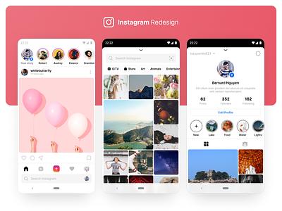 Instagram Redesign application simple uiux media social redesign instagram user interface ux design app mobile ui
