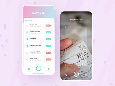 Split the Bill user interface uiux ios camera scan bill receipt application app mobile design ui