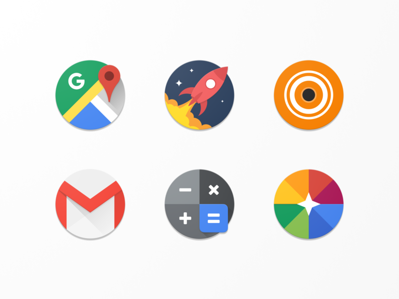 Kroog Icons photos calculator gmail vlc reddit maps vector design circle material design application android icons pack icon set icons app
